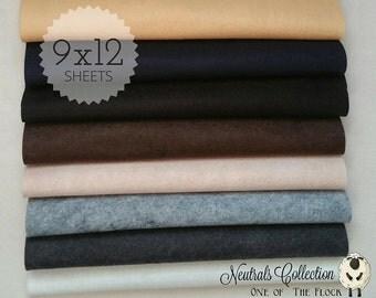 Neutrals Felt Collection, Wool Blend Felt, Wool Felt Sheets, Wool Felt Fabric, Felt Fabric Bundles, Wool Felt Bundles, Felt Collections