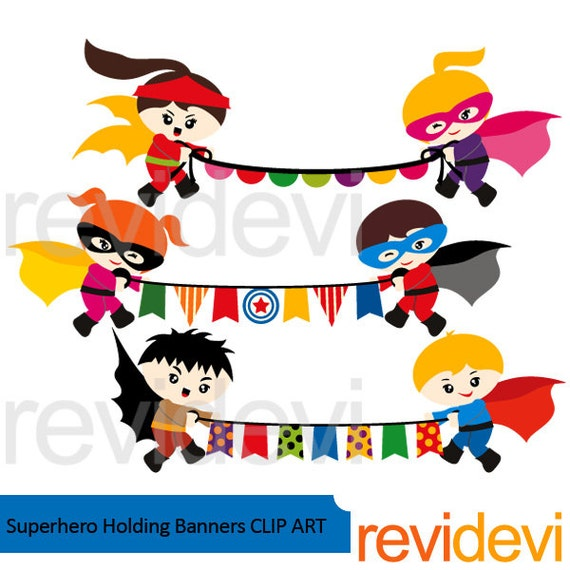 Superhero holding bunting banners clipart Superhero by ...