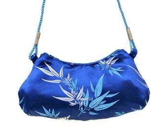 Formal Evening Shoulder Bag , Evening Purse , Blue Evening Bag , Shoulder Purse , Royal Blue Brocade , Blue Handbag , Bamboo Print ,  Prom