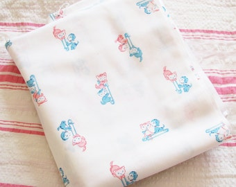 Kitty & Puppy for Baby...Adorable Vintage Novelty Children's Fabric