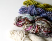 weaving handspun yarn, weavers creative yarn bundle, hand spun, hand dyed yarn, handspun art yarn .. snowed under