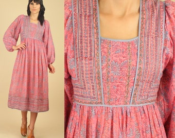 ViNtAgE 70's ZoDiAc Deadstock Indian Gauze Cotton Poet Slv. Gypsy Festival Dress HiPPiE BoHo M / L New Old Stock NOS