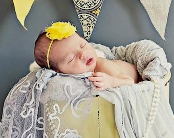 Bright Yellow Baby Girl Headband Shabby Chic Flower Headband Skinny Elastic Headband  Newborn Yellow Baby Headband Yellow Shabby Headband