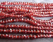 Complete Strand 13 inches of natural Garnet faceted rondelle stone beads - 3.5mm X 3mm