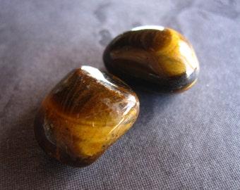 Tiger Eye Tumbled Stones - Semiprecious gemstone - 16mm X 18mm - Pocket Stone
