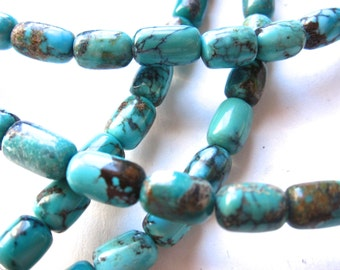 16 inches Elongated tubes of semiprecious stone of turquoise - Blue Green turquoise colors - natural Chinese stone
