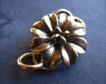 Solid Bronze Flower s hook clasp - clasps - hook and eye