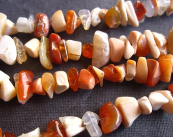 Rough Unpolished Organic Mexican Fire Opals - 7 3/4 inch strand - 6mm X 4mm average