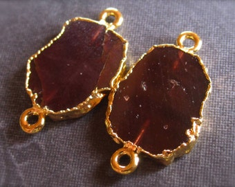Pair of Garnet Gold Plated Connectors - semiprecious stone - 22mm X 13mm