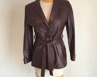 Vintage 70s Oxblood belted Leather Jacket M L
