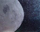 Silver Moon ATC, Night Sky Mini Art, Full Moon Altar Art, Moon ACEO, Full Moon Art Card, Moon and Sparkling Stars ATC, Glittering Stars