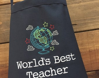 Globe Apron--Personalized Embroidered Apron for WORLDS best teacher or your history teacher--2 sizes available