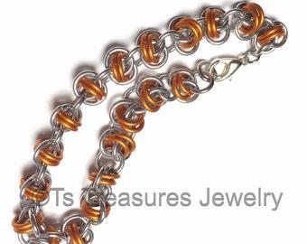 Barrel of Orange - Chainmaille Barrels weave bracelet