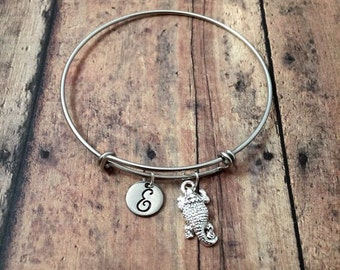Horned frog initial bangle- frog jewelry, amphibian jewelry, frog bangle, toad bracelet, silver frog bracelet, horned toad jewelry