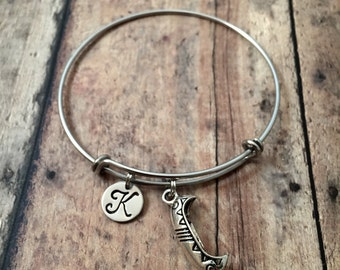 Canoe initial bangle - canoe jewelry, camping bracelet, silver canoe bracelet, summer camp jewelry, gift for camper, camp counselor gift