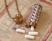 Rhinestone Unique Gypsy Style  - Tube Pill Box