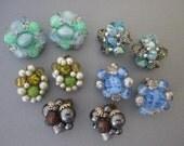 Earrings DeStash 5 Pairs Bead Clip Earrings blues/greens