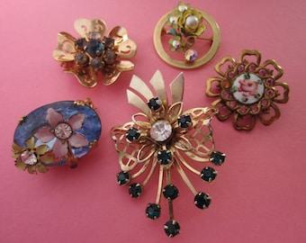Jewelry DeStash 6 Vintage Flower Brooches
