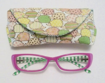Hedgehog - Eyeglass Case - Sunglass Case - Magnetic - Pink and Green - Hedgehog Gifts
