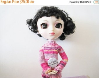 Prefall Sale Crayon Sweater in Girly Pinks - Pink, Lavender, Purple, Yellow - Hand Knit Miniature Sweater for Pullip