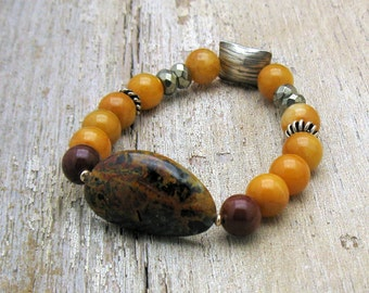 Red Creek Jasper Boho Beaded Bracelet, Sterling Silver Yellow Jade Stretch Bracelet, For Her Under 200