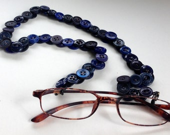 Eyeglass Chain in Vintage Buttons - Blue and Navy