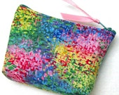Coin purse, Mini coin purse, Small coin purse, Small zippered coin purse, Zipper coin purse, Wallet,  Monet's garden