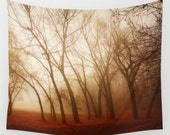 Red Earth wall tapestry- landscape photography- red and brown-fog-trees photo-nature-wall decor