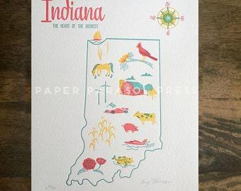 Indiana State Letterpress Print 8x10