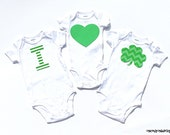 St. Patrick's Day... I Heart Shamrock....Fabric Iron On Appliques... Twins...Siblings