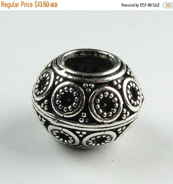 CIJ SALE Bali Sterling Silver Circle and Dots Rondelle Slider Bead with Large Hole (1 bead)