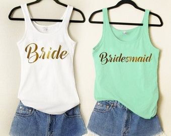 RESERVED 1 Bridesmaid GOLD Bachelorette Party Wedding Honeymoon Bridal Shower Tank Top Shirt Fun Team Bride Tank