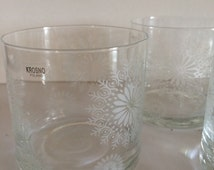 Krosno Glasses Set of Four Winter Snowflakes Etched Made in Poland