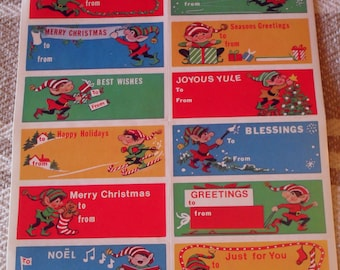 47 Vintage Fasson Elf Christmas Sticker Gift Tags