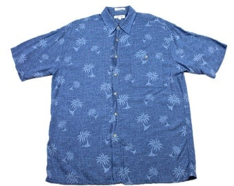 Vintage 1990s 90s Pierre Cardin Blue Palm Tree Print Hawaiian Shirt Tiki Luau Mens Size L Large