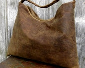 Rustic Distressed Leather Triangle Hobo Bag by Stacy Leigh Ready to Ship