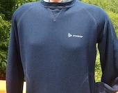 vintage 70s sweatshirt TENNIS dunlop pocket navy blue raglan crewneck Medium soft 80s