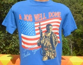 vintage tee shirt DESERT STORM gulf war american flag job well done army military t-shirt Medium