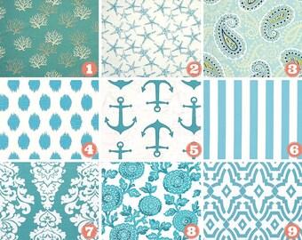Designer Square Throw Pillow Cover-Cushion Cover-Lumbar-Coastal Blue-Mums-Berlin Sub-Sea Friends Stars-Coral Premier Prints Cotton Duck
