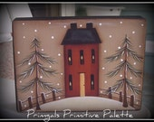 Primitive Winter Saltbox House Wood Shelf Sitter Block Holiday Home Decor Decoration
