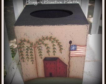 Americana Flag Saltbox House Paper Mache Tissue Box Bath Home Decor