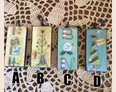 Altered domino pendant mixed media Christmas ornaments choose among four