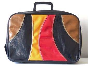 60s Mod Geomeric Vinyl Carry On Suitcase