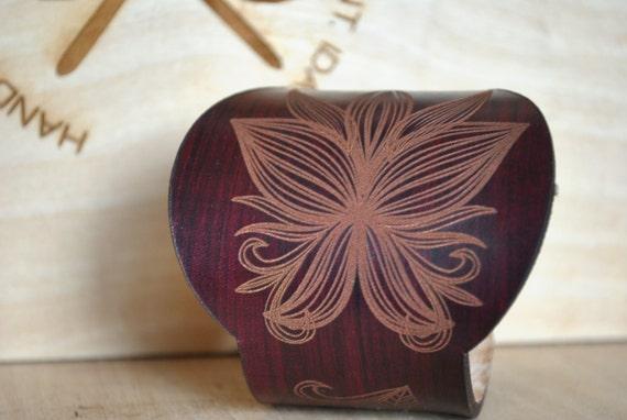 Worrior Woman Cuff. Leather Flower design cuff, butterfly design cuff, chunky leather cuff