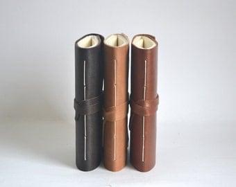 Black Leather Journal, Dark Brown Hand Bound Leather Wrap Around Journal, Black Blank Notebook