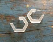 Clear Hoops Earrings   Crystal Frosted Mini Hex Hoops   mod lucite hoop earrings