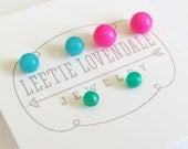 Little Studs Set | Tiny Stud Earrings in Hot Pink Turquoise and Teal Moonglow | Vintage Lucite Repurposed by Leetie