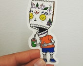 Bart Calavera Clear Die-cut Vinyl Sticker Day of the Dead