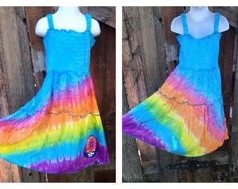 Grateful Dead Girls Dress size 6, size 7, size 8, size 9, tie dye rainbow spinner dress, Turquiose girls dress, dancing bear or SYF