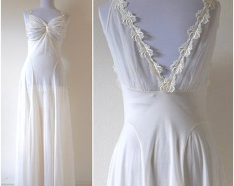 FLASH SALE / 25% off Vintage 60s 70s Dream Angel White Bias Cut Low Back Nightgown (size small, medium)